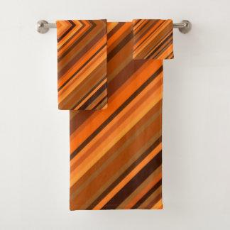 ブラウン及びオレンジ正方形パターンタオルセット バスタオルセット