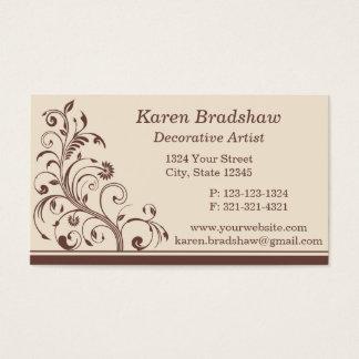 ブラウン及びクリームの花のカールの名刺 名刺