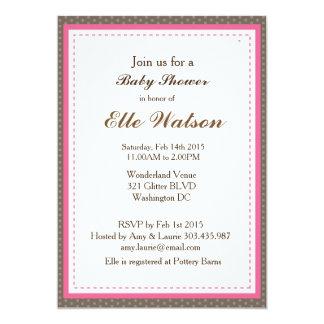 ブラウン及びピンクの女の子のベビーシャワー招待状 カード