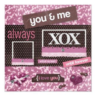 ブラウン及びピンクの招待状 カード