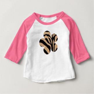 ブラウン及びベージュシマウマのプリントの花 ベビーTシャツ