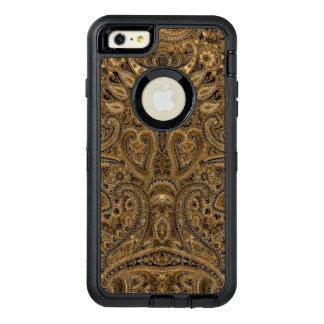 ブラウン及びベージュ色のヴィンテージのペイズリーの生地の質 オッターボックスディフェンダーiPhoneケース