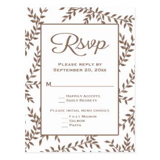 ブラウン及び白いRSVPの葉の花の結婚披露宴 ポストカード