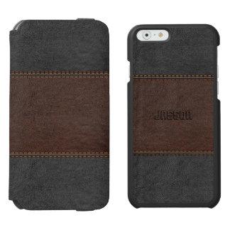 ブラウン及び黒いヴィンテージの革 iPhone 6/6Sウォレットケース