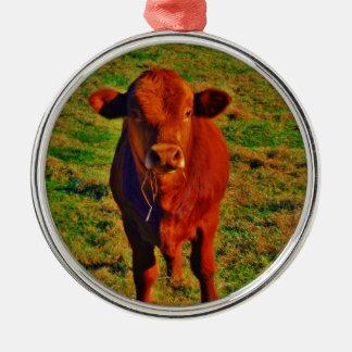 ブラウン小さい牛若草色の草 メタルオーナメント