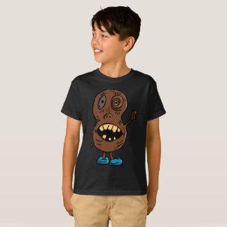 ブラウン気色悪いピーナツ精神分析の青い靴の子供のTシャツ Tシャツ