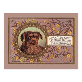 ブラウン犬のヴィンテージの再生 ポストカード