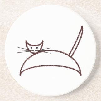 ブラウン猫のコースター コースター