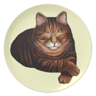 ブラウン睡眠の虎猫猫のプレート プレート