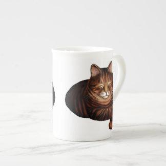 ブラウン睡眠の虎猫猫の骨灰磁器のマグ ボーンチャイナカップ