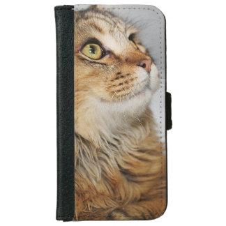 ブラウン長い髪CATの携帯電話のウォレットケース iPhone 6/6S ウォレットケース