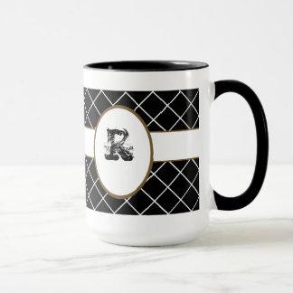ブラウン黒いモノグラムのなメンズ マグカップ