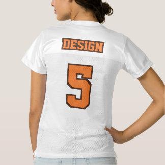ブラウン2つの側面のオレンジ白いレディースフットボールジャージー レディースフットボールジャージー