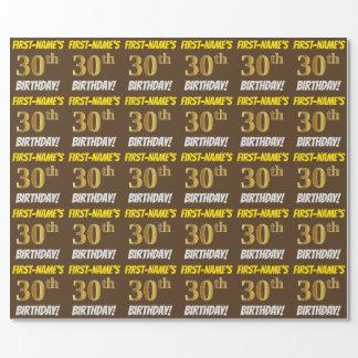 """ブラウン、のどまたは模造金ゴールド、""""第30誕生日"""" ラッピングペーパー"""