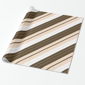 ブラウン、白およびタンの斜めのストライプのなギフト用包装紙 ラッピングペーパー