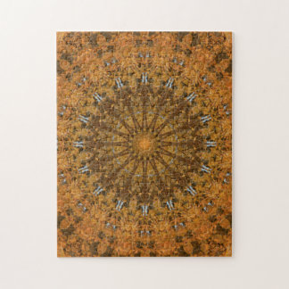 ブラウン、金ゴールド及びオレンジ秋の曼荼羅の万華鏡のように千変万化するパターン ジグソーパズル