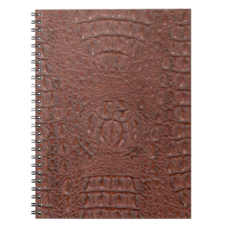 ブラウンHornback Crocの皮 ノートブック
