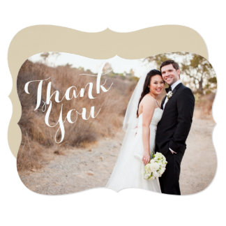 ブラケットの結婚式の写真カードありがとう 12.7 X 17.8 インビテーションカード