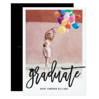 ブラシの原稿の卒業の写真の発表の招待 カード