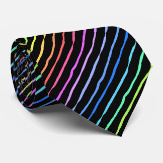 ブラシの打撃の虹のストライプので黒い両面 ネクタイ