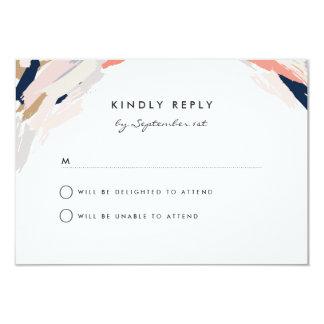 ブラシは結婚式の応答カードをなでます カード