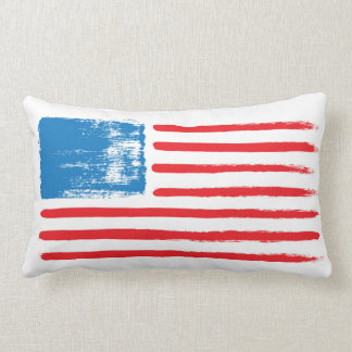 ブラシをかけられた米国旗-枕 ランバークッション