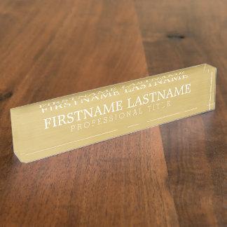 ブラシをかけられた金の基本的な名前およびプロフェッショナルのタイトル デスクネームプレート