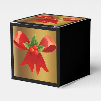 ブラシをかけられた金ゴールドおよび赤い弓好意箱との黒 フェイバーボックス