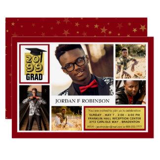 ブラシをかけられた金ゴールドの卒業生 の編集可能赤 の5写真 カード