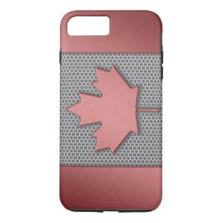 ブラシをかけられた金属の一見のカナダ人の旗 iPhone 8 PLUS/7 PLUSケース