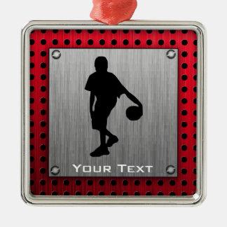 ブラシをかけられた金属の一見、バスケットボール; 赤い メタルオーナメント