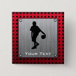 ブラシをかけられた金属の一見、バスケットボール; 赤い 缶バッジ