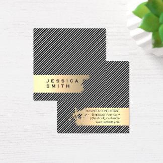 ブラシをかけられるエレガントな金ゴールドは縞で飾りましたり/黒 スクエア名刺
