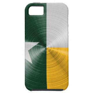 ブラシをかけられる緑および金ゴールドのテキサス州の旗の放射状のもの iPhone SE/5/5s ケース