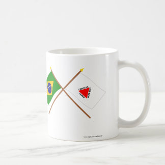 ブラジルおよびミナスジェライス州の交差させた旗 コーヒーマグカップ