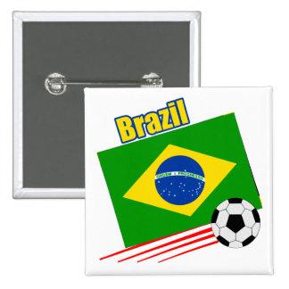 ブラジルのサッカーチーム 5.1CM 正方形バッジ