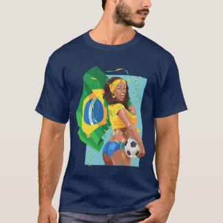 ブラジルのサッカーボールのフットボール Tシャツ