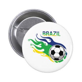 ブラジルのサッカーボール 5.7CM 丸型バッジ