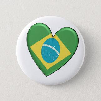ブラジルのハートの旗 5.7CM 丸型バッジ