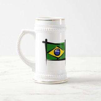 ブラジルのブラシの旗 ビールジョッキ