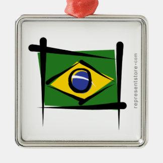 ブラジルのブラシの旗 メタルオーナメント