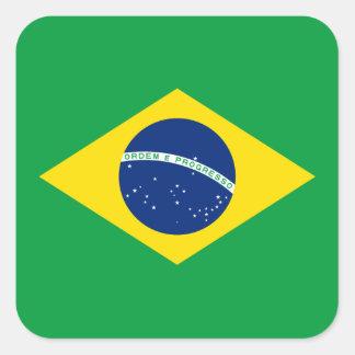 ブラジルのラベルの旗 スクエアシール