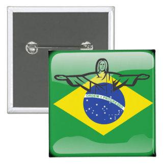 ブラジルの光沢のある旗 5.1CM 正方形バッジ