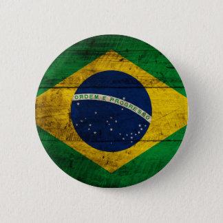 ブラジルの古い木の旗 缶バッジ