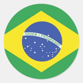 ブラジルの国旗 ラウンドシール