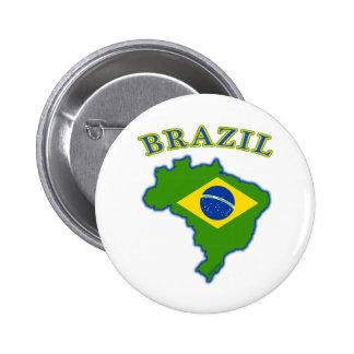 ブラジルの地図か旗 5.7CM 丸型バッジ