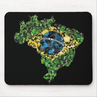 ブラジルの地図の旗のdurty絵画の素朴な(ばちゃばちゃ)跳ねる マウスパッド