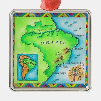 ブラジルの地図 メタルオーナメント