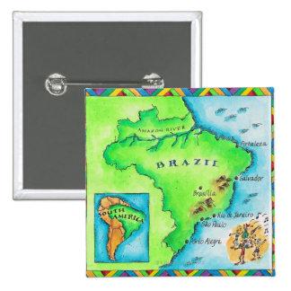 ブラジルの地図 5.1CM 正方形バッジ
