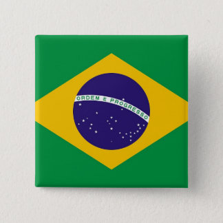ブラジルの旗が付いているボタン 5.1CM 正方形バッジ